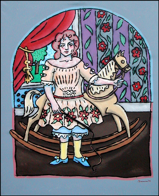 Naive American. (Girl with Rocking Horse)
